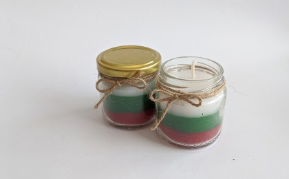 Scented candle Tricolor with Rose Damascena
